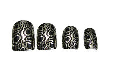 FALSE NAILS TIPS CHROME ANIMAL PRINT PATTERN / FRENCH TIP TIGER LEOPARD NAIL