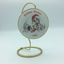 Hallmark Christmas Tree Ornament 1996 Disney 101 Dalmatians Holiday Wishes Plate