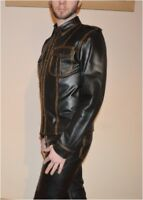 AW-669 Lederhemd,Leather shirt,Chemise Cuir,Soft Leder Hemd,Police style Hemd  M