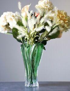 "Vase 12 "" Crystal Glass Green Bud Vase Home Decor Bohemia Crystal Flower Vase"