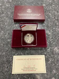 1996-P U.S. OLYMPIC COINS OF ATLANTA CENTENNIAL SILVER $1 PROOF W/ BOX/COA! NR!