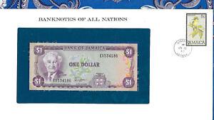 Banknotes of all Nations Jamaica 1 Dollar 1982 UNC P-64a sign 6 prefix EX