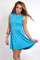 Women's Stylish Summer Dress with Zipper Party Jersey  Size 8-12 8422