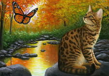 Bengal cat butterfly autumn fall stream landscape limited edition aceo print art