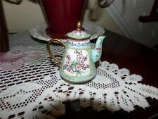 ANTIQUE CHINESE CLOISONNE ENAMELLED FLORAL DECORATION MINI TEA POT