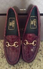 NEW GUCCI WOMAN CAIMAN ALLIGATOR HORSEBIT SHOES LOAFERS CHERRY GLOSS $3020  38