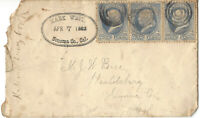 RARE 1883 US COVER SONOMA COUNTY CALIFORNIA MARK WEST OVAL CANCEL
