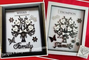 PERSONALISED FAMILY TREE Frame Picture BLACK WHITE Birthday Christmas Easter