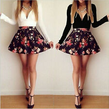 Sexy Women Long Sleeve Floral V Neck Low Cut Mini Party Evening Skirt Dress 6-12