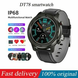 2021 Leather Smart Watch Sport Fitness Tracker Pedometer Heart Rate BP Monitor