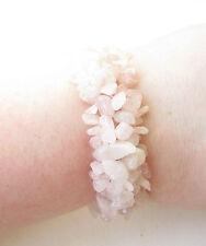 Natural Rose Quartz Chip Stone Bracelet Bridal Bridesmaid Blush Pink Druzy 1839