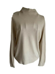 BHS Womens Jumper Size 12 Beige Long Sleeved High Neck Acrylic