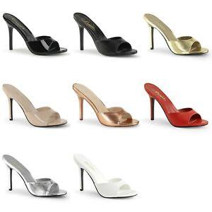 """PLEASER Classique-01 Slides Mules 4"""" Heels Drag Plus Large Women's Sizes 4-15"""