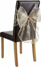 Merry Christmas Chair Bow Pack of 10 Gold