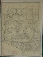 1922 LARGE AMERICA MAP ~ ARIZONA RAILROADS PRINCIPAL CITIES ~ RAND MCNALLY