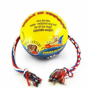 """TUGGO Dog Toy Water Weighted Ball Tugg-O-War Medium 7""""   4' Rope Durable Colors"""