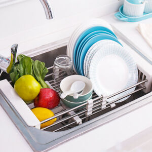 Telescopic Stainless Steel Over The Sink Dish Drying Rack Sink Organizer Basket