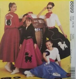 McCalls Costumes Poodle Skirt 8899 Sewing Pattern