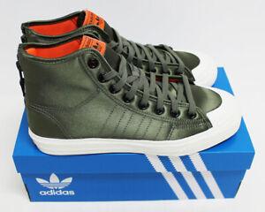 NIB ADIDAS Men's Nizza Hi RF Military Green Satin Nylon High Top Sneakers Shoes