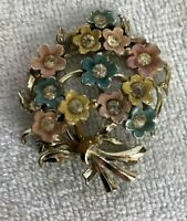 Vintage Spring Floral Bouquet W/ Clear Stone Center Brooch Pin Gold Tone