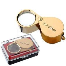 Lupa de vidrio de ojo de bucle Lupa Joyero 30x21 Hallmark chatarra de plata oro Etc #LG