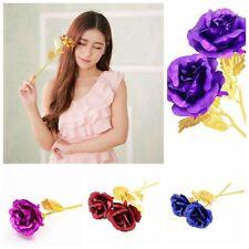 24CM Handmade Craft Home Decor Lovers Gift Gold Foil Rose Flowers Long Stem