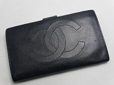 US SELLER Authentic CHANEL LONG WALLET BLACK CAVIAR LEATHER LARGE COCO FRANCE