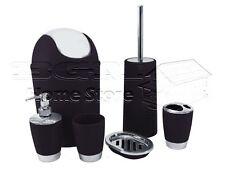 Bathroom Accessory Set Tumbler Toilet Brush Lotion Waste Bin Black 6pc