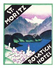 x0952 Rosatsch Hotel ST. MORITZ luggage label Kofferaufkleber  - BRÜGGER