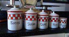 Série 5 pots à épices émaillés à damiers rouges / Déco cuisine Art populaire