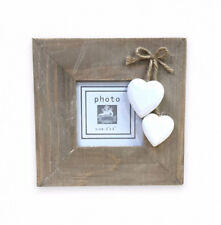 """Rustic Wood 3""""x3"""" Photo PICTURE Frame Hanging WHITE Hearts Distressed GIFT"""