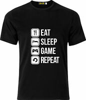 EAT SLEEP GAME REPEAT FUNNY  100% COTTON  T SHIRT