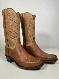 Men's Lucchese Smooth Ostrich Boots Nathan Barnwood Genuine Handmade 11 N1160.74