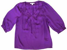 Banana Republic Petite XS Royal Purple Satin Quilted V-Neck Peasant Blouse