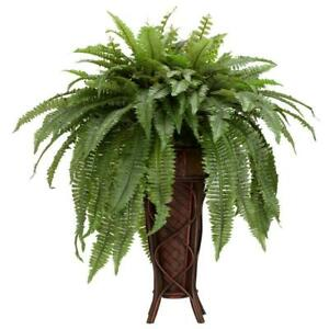 Nearly Natural Artificial Plant 38 in Green Boston Fern Plastic Indoor Stand