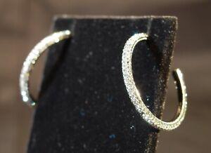 Nadri clear crystal sparkle earrings hoops on posts