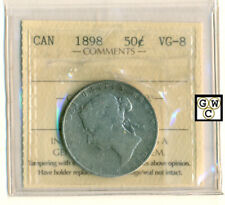 ICCS Canada 1898   50cents Coin ; VG-8 ;  Cert. No.- IG 256 ; LHM