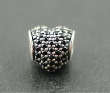 Authentic Pandora Charm Pave heart, black crystal 791052NCK Sterling Silver Bead