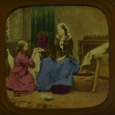 1860s Hold To Light Colour Tinted Pierced Tissue Stereoview Photo Genre Scene