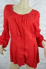 VERONIKA MAINE red collarless long sleeve career top blouse size 14 EUC