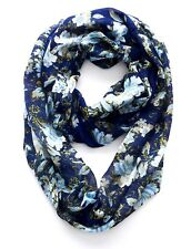 J. Jill -  Soft Cotton-blend Infinity Scarf with Floral Print, deep blue - NWT