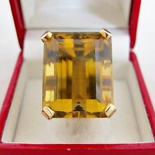 BIG Vintage 14K Gold Ring with 23mm Burnt Yellow Citrine  (17.2 grams, size 6.5)