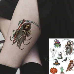 Halloween Tattoos Ghost Death Witch Pumpkin Hat Raven Kids Adults Colourful