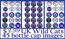 45 Unniversity of Kentucky Wildcats Football Logos  Bottle cap Images Bonus