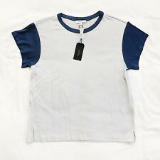 NWT Rag & Bone Colorblocked Penny Tee Shirt Silver Blue Womens Sz Small S