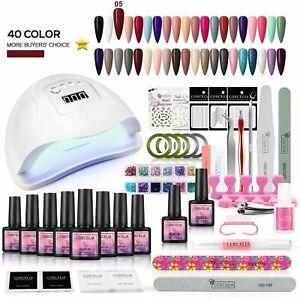 Coscelia Nail Art Starter Kit 40pc Gel Polish 80W UV Nail Lamp LED Manicure Set
