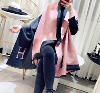 Womens Luxury Winter Wool Blend Soft Warm H-Scarf Long Wrap Shawl 180*70cm