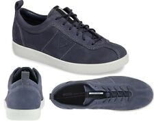 NEW $149 ECCO Soft 1 Danish Design Women Suede Sneakers Blue Size US 9/EU 40