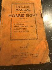 ORIGINAL MORRIS EIGHT 8 SERIES II SERVICE OPERATION REPAIR MANUAL 1945 UK