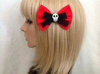 Red skull hair bow clip rockabilly pin up girl cute punk gothic black lace
